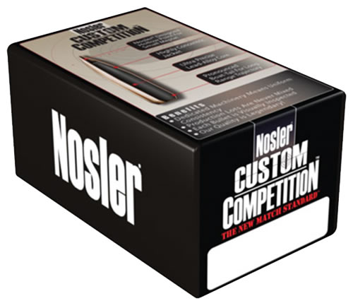 Nosler 53294 Custom Competition Boat Tail Hollow Point 22 Cal 52 Grain 100/Box, (Not Loaded)