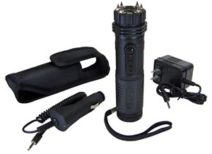 PSP ZAPLE Zap Stun Gun and LED Flashlight, 1 Million Volts, Rechargeable Battery, Black