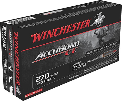 Winchester Supreme Centerfire Rifle Ammunition S270WSMCT, 270 WSM, AccuBond CT, 140 GR, 3200 fps, 20 Rd/bx
