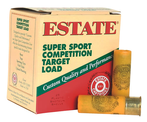 Estate Super Sport Target SS2075, 20 Gauge, 2 3/4 in, 7/8 oz, 1200 fps, #7 1/2 Lead Shot, 25 Rd/bx, Case of 10 Boxes