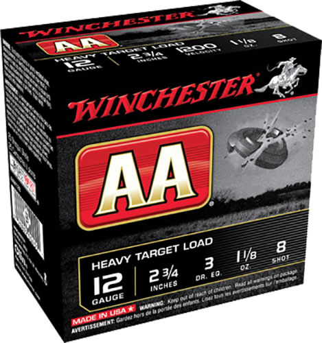 Winchester AA Heavy Target AAM128, 12 Gauge, 2 3/4 in, 1 1/8 oz, 1200 fps, #8 Lead Shot, 25 Rd/bx, Case of 10 Boxes