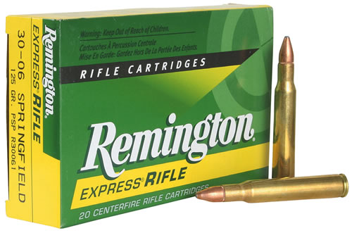 Remington Centerfire Rifle Cartridges R30061, 30-06 Springfield, Pointed Soft Point, 125 GR, 3140 fps, 20 Rd/bx