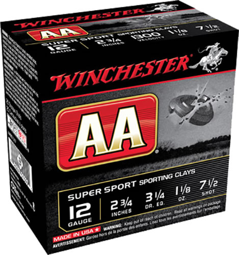 Winchester AA SuperSport Sporting Clays AASC1275, 12 Gauge, 2 3/4 in, 1 1/8 oz, 1300 fps, #7 1/2 Lead Shot, 25 Rd/bx, Case of 10 Boxes