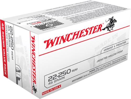 Winchester USA Centerfire Rifle Ammunition USA222502, 22-250 Remington, Jacketed Hollow Point, 45 GR, 4000 fps, 40 Rd/bx