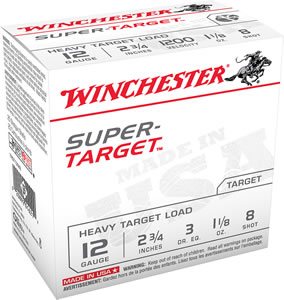 Winchester Super Target TRGT12M8, 12 Gauge, 2 3/4 in, 1 1/8 oz, 1200 fps, #8 Lead Shot, 25 Rd/bx, Case of 10 Boxes