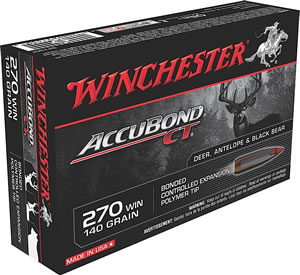 Winchester Supreme Centerfire Rifle Ammunition S270CT, 270 Winchester, AccuBond CT, 140 GR, 2950 fps, 20 Rd/bx