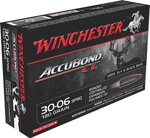 Winchester Supreme Centerfire Rifle Ammunition S3006CT, 30-06 Springfield, AccuBond CT, 180 GR, 2750 fps, 20 Rd/bx