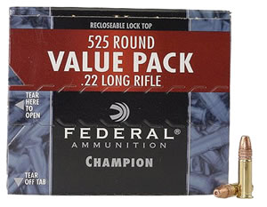 Federal Champion 22 Rimfire Ammunition 745, 22 Long Rifle, Copper Plated HP, 36 GR, 1260 fps, 525 Rd/bx