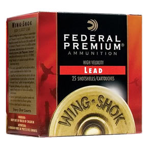 Federal Premium Wing Shok P2584, 20 Gauge, 3 in, 1 1/4 oz, 1300 fps, #4 Lead Shot, 25 Rd/bx, Case of 10 Boxes
