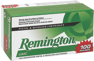 Remington UMC Handgun Ammunition L380A1B, 380 ACP, Jacketed Hollow Point, 88 GR, 955 fps, 100 Rd