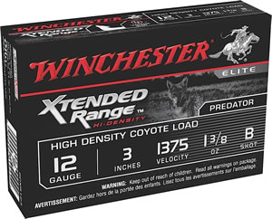 Winchester Supreme Extended Range High Density Coyote SCXR123, 12 Gauge, 3 in, 1 3/8 oz, High Velocity, #B Bismuth-Tin Alloy Shot, 5 Rd/bx