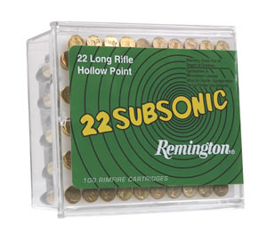 Remington Subsonic Rimfire Ammunition SUB22HP1, 22 Long Rifle, Hollow Point, 38 GR, 1050 fps, 100 Rd/10bx, 1000 Rds