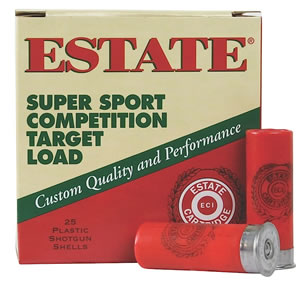 Estate Super Sport Target SS12H8, 12 Gauge, 2 3/4 in, 1 1/8 oz, 1200 fps, #8 Lead Shot, 25 Rd/bx, Case of 10 Boxes