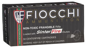 Fiocchi Exacta Match Rifle Ammunition 223SFNT, 223 Remington, Sinterfire Frangible, 45 GR, 2800 fps, 50 Rd/bx