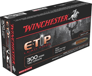 Winchester Supreme Centerfire Rifle Ammunition S300SET, 300 WSM, E-Tip Lead-Free, 180 GR, 3010 fps, 20 Rd/bx