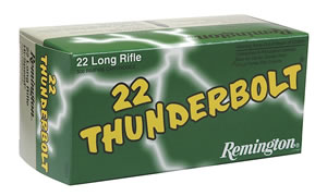 Remington Thunderbolt Bulk Rimfire Ammunition TB22B, 22 Long Rifle, Round Nose, 40 GR, 1255 fps, 500 Rds/Box