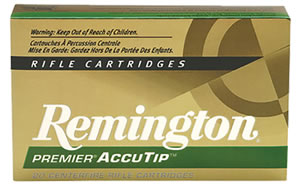 Remington Premier Accutip Rifle Ammunition PRA3006C, 30-06 Springfield, AccuTip Boat Tail, 180 GR, 2725 fps, 20 Rd/bx
