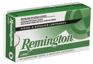 Remington UMC Handgun Ammunition L45AP1, 45 ACP, Metal Case, 185 GR, 1015 fps, 50 Rd/bx