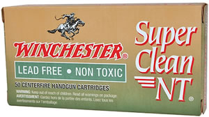 Winchester Super Clean NT Centerfire Handgun Ammunition SC45NT, 45 ACP, Jacketed Flat Point, 170 GR, 1148 fps, 50 Rd/bx