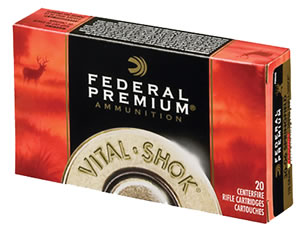 Federal Premium Vital Shok Ammunition P280A, 280 Remington, Nosler Partition, 150 GR, 2890 fps, 20 Rd/bx