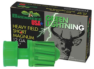 Brenneke Green Lightning Slugs SL122HFSGL-1207825, 12 Gauge, 2 3/4 in, 1 1/4 oz, 1476 fps, 5 Rd/bx