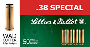Sellier & Bellot Ammunition SB38A 38 Special, Lead Round Nose, 158 GR, 2080 fps, 50 Rd/bx