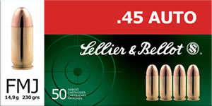 Sellier & Bellot Ammunition SB45A 45 ACP, Full Metal Jacket, 230 GR, 830 fps, 50 Rd/bx