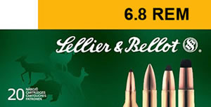 Sellier & Bellot Ammunition SB68B 6.8mm Remington, PTS (Plastic Tip Special), 110 GR, 2550 fps, 20 Rd/bx