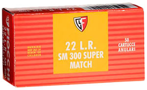 Fiocchi Super Match Rimfire Ammunition 22SM320, 22 Long Rifle, Round Nose, 40 GR, 1050 fps, 50 Rd/bx