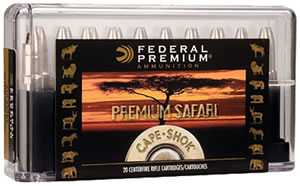 Federal Premium Cape Shok Ammunition P370SA, 370 Sako Mag, Swift A-Frame, 286 GR, 2550 fps, 20 Rd/bx