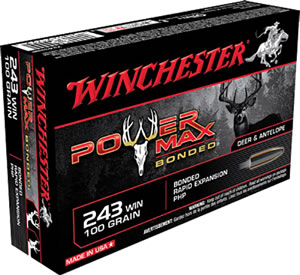 Winchester Super X Ammunition X2432BP, 243 Winchester, Power Max Bonded, 100 GR, 2960 fps, 20 Rd/bx