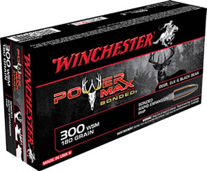 Winchester Super X Ammunition X300WSMBP, 300 Winchester Short Mag, Power Max Bonded, 180 GR, 2970 fps, 20 Rd/bx