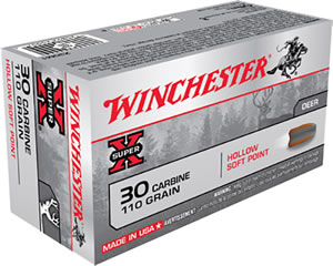Winchester Super-X Centerfire Rifle Ammunition X30M1, 30 Carbine, Hollow Soft Point, 110 GR, 1990 fps, 50 Rd/bx