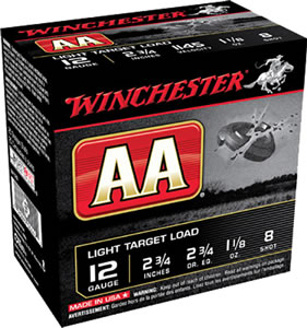 Winchester AA Light Target AA128, 12 Gauge, 2 3/4 in, 1 1/8 oz, 1145 fps, #8 Lead Shot, 25 Rd/bx, Case of 10 Boxes