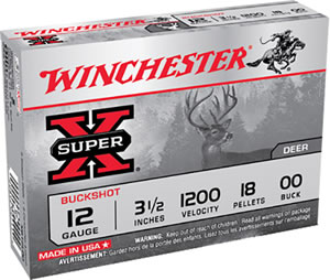 Winchester Super X Buckshot XB12L00, 12 Gauge, 3 1/2 in, 18 Pellets, 1200 fps, #00 Buffered Lead Buckshot, 5 Rd/bx
