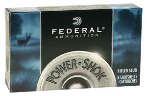 Federal Premium Power Shok F127RS, 12 Gauge, 2 3/4 in, 1 oz, 1610 fps, Lead Rifle Slug, 5 Rd/bx