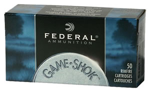 Federal Game Shok Rimfire Ammunition 712, 22 Long Rifle, Copper Plated HP, 38 GR, 1260 fps, 50 Rd/bx