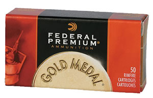 Federal Gold Medal Rimfire Ammunition 719, 22 Long Rifle, Solid, 40 GR, 1200 fps, 50 Rds/Box