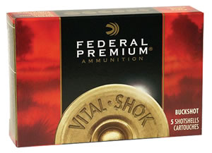 Federal Premium Vital Shok P158000, 12 Gauge, 3 in, 10 Pellets, 1225 fps, #000 Copper Plated Lead Buckshot, 5 Rd/bx