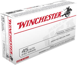 Winchester USA Centerfire Pistol Ammunition USA45JHP, 45 ACP, Jacketed Hollow Point, 230 GR, 880 fps, 50 Rd/bx