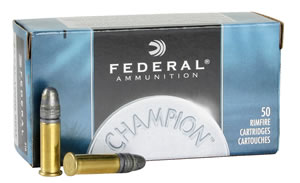 Federal Champion 22 Rimfire Ammunition 510, 22 Long Rifle, Lead, 40 GR, 1240 fps, 50 Rd/bx