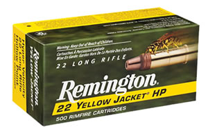 Remington Yellow Jacket Rimfire Ammunition 1700, 22 Long Rifle, Hollow Point, 33 GR, 1500 fps, 100 Rd/5bx, 500 Rds