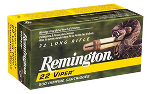 Remington Viper Rimfire Ammunition 1900, 22 Long Rifle, Truncated Cone Solid, 36 GR, 1410 fps, 100 Rd/bx
