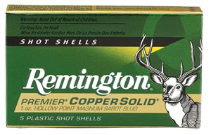 Remington Premier Coppersolid PR12CS, 12 Gauge, 2 3/4 in, 1 oz, 1450 fps,  Copper Solid Sabot  Slugs, For Fully-Rifled Slug Barrels, 5 Rd/bx