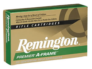 Remington Premier A-Frame Rifle Ammunition PR375UM3, 375 Remington Ultra Mag, Pointed Soft Point, 300 GR, 2400 fps, 20 Rd/bx