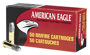Federal American Eagle Rimfire Ammunition AE5022, 22 Long Rifle, Solid, 40 GR, 1240 fps, 50 Rd/bx