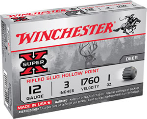 Winchester Super X Lead Rifle Slug X123RS15, 12 Gauge, 3 in, 1 oz, 1760 fps, 5 Rd/bx