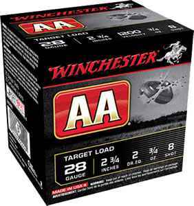 Winchester AA Target AA288, 28 Gauge, 2 3/4 in, 3/4 oz, 1200 fps, #8 Lead Shot, 25 Rd/bx, Case of 10 Boxes