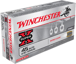 Winchester WinClean Handgun Ammunition WC452, 45 ACP, Brass Enclosed Base, 230 GR, 875 fps, 50 Rd/bx
