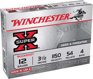 Winchester Super X Buckshot XB12L4, 12 Gauge, 3 1/2 in, 54 Pellets, 1150 fps, #4 Buffered Lead Buckshot, 5 Rd/bx